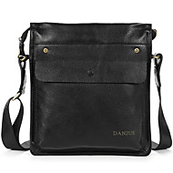Men Bags Cowhide Shoulder Bag Smooth for Business Casual Formal Work Office & Career School Date All Seasons Black