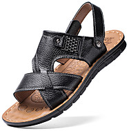 Men's Sandals Comfort Leather Summer Outdoor Walking Flat Heel Light Brown Brown Black Under 1in