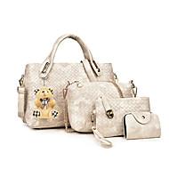 お買い得  バッグセット-女性用 バッグ PU バッグセット 4個の財布セット のために 結婚式 / イベント/パーティー / フォーマル ブラック / ルビーレッド / Brown