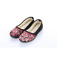 Dame Flate sko Komfort brodert sko Tekstil Vår Høst Kontor og arbeid Fritid Blomst Flat hæl Rød Blå Svart/Rød Flat