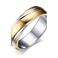 Men's Two tone Band Ring Stainless Steel Fashion Ring Jewelry Gold For Wedding Masquerade Engagement Party Prom Work Office & Career 8 / 9 / 10 / 11 / 12