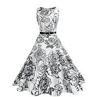 女性用 シース スウィング ドレス - ビンテージ, フラワー ハイライズ