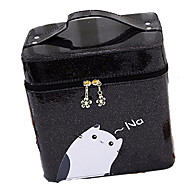 Women Bags All Seasons PU Cosmetic Bag for Stage Black Silver Blushing Pink