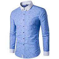 Bomull Tynn Kneppet krage Skjorte Herre - Geometrisk, Trykt mønster Hvit XXXL / Langermet / Vår / Høst