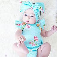 Baby Pige En del Vintage Mode, Bomuld Sommer Uden ærmer Blomster Blå