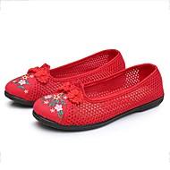 tanie Obuwie damskie-Damskie Obuwie Tiul Wiosna Lato Buty płaskie Płaski obcas Okrągły Toe Klamra Kwiat na Black Czerwony