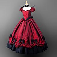 Χαμηλού Κόστους Steampunk®-Γκόθικ Victorian Στολές Γυναικεία Κοριτσίστικα Φορέματα Κοστούμι πάρτι Χορός μεταμφιεσμένων Κόκκινο Πεπαλαιωμένο Cosplay Σατέν Κοντομάνικο Φουσκωτό Μπαλόνι Μακρύ Κοστούμια Halloween / Γοτθική Λολίτα