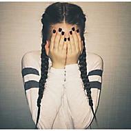Damen Synthetische Lace Front Perücken Lang Gerade Yaki-Stil Schwarz Geflochtene Perücke Französische Braid Frisur Mittelscheitel