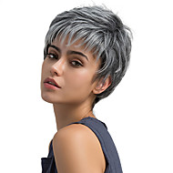 Syntetisk hår Parykker Ret Lågløs Naturlig paryk Kort Brun