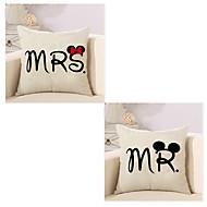 tanie Zestawy poduszki-2 szt Cotton / Linen Poszewka na poduszkę Pokrywa Pillow, Wzorzec Tradycyjny / Classic