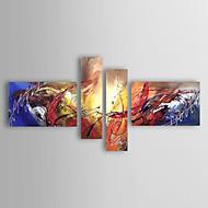 Maalattu Abstrakti Mikä tahansa muoto,Moderni European Style 4 paneeli Kanvas Hang-Painted öljymaalaus For Kodinsisustus