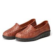 baratos Sapatos Femininos-Mulheres Sapatos Tecido Primavera / Verão Conforto Mocassins e Slip-Ons Caminhada Sem Salto Ponta Redonda Combinação Café / Vinho