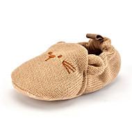 キッズ 赤ちゃん ローファー&スリップアドオン 赤ちゃん用靴 繊維 秋 冬 カジュアル ドレスシューズ パーティー 赤ちゃん用靴 アニマルプリント フラットヒール カーキ色 フラット