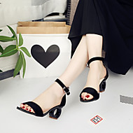 baratos Sapatos Femininos-Mulheres Sapatos Camurça Primavera / Verão Sandálias Calcanhar Heterotípico Dedo Aberto Presilha Preto / Amarelo / Cor Ecrã