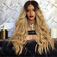 halpa -Naisten Aitohiusperuukit verkolla Remy Lace Front Liimaton puoliverkko 150% Tiheys Runsaat laineet Peruukki Black / Mansikka Blonde Lyhyt