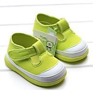 Bebek Ayakkabı Kumaş Bahar Sonbahar İlk Adım Düz Ayakkabılar Yürüyüş Alçak Topuk Yuvarlak Uçlu Sihirli Bant Uyumluluk Günlük Açık Pembe