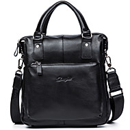 Men Bags Cowhide Briefcase Zipper for Business Casual Formal School Date Work Office & Career All Seasons Black Dark Brown