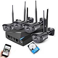 halpa -jooan® 4ch 960p langattoman NVR turvajärjestelmä pakki 4 * 1,3 megapikselin ulkona ir pimeänäkölaitteet WiFi IP -kamera CCTV kanssa 1TB HDD