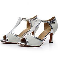 baratos Sapatilhas de Dança-Mulheres Sapatos de Dança Latina Glitter / Micofibra Sintética PU Salto Presilha Personalizável Sapatos de Dança Prata / Cinzento / Roxo
