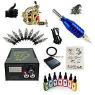 billige Tatoveringssett for nybegynnere-Starter Tatoveringssett 1 x legering tatovering maskin for fôr og skyggelegging Tattoo Machine LCD strømforsyning 7 × 15ml Tattoo blekk 1