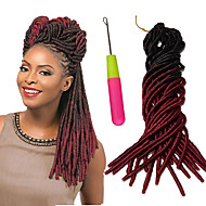 abordables -dreadlocks Tresse Natté Tresses au Crochet 51cm Fausses Dreads Fausses Dreads Crochet Dreadlock Extensions Cheveux 100 % Kanekalon Noir /