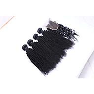 Echthaar Brasilianisches Haar Menschenhaar spinnt Kinky Curly Ringellocken Haarverlängerungen 5 Stück Schwarz