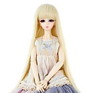 Naisten Bleach Blonde Suora Otsatukalla Synteettiset hiukset Doll Wig puku Peruukit