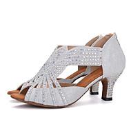 baratos Sapatilhas de Dança-Mulheres Sapatos de Dança Latina Gliter Sandália / Salto Pedrarias / Presilha Salto Carretel Sapatos de Dança Rosa claro / Preto / Branco