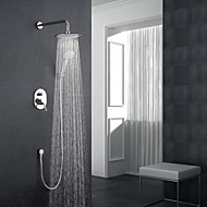 Modern/Contemporary Wall Mounted Rainfall Wall Mount Ceramic Valve Single Handle Three Holes Chrome , Shower Faucet
