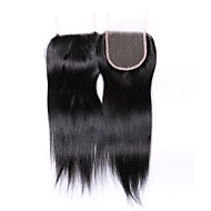 Fashion&Popular Grade 8A Natural Black Straight Brazilian Human Hair Closures Free/Middle/3 Part  4*4 Swiss Lace Closures Human Hair Extensions/Weaves