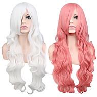 Syntetiske parykker Bølget Pink Syntetisk hår Hvid / Pink Paryk Dame Lang Lågløs Pink
