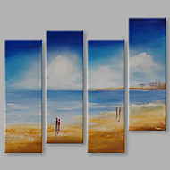 IARTS® Hand Painted Modern Abstract A Day Wonder in Summer Beach Set of 4 Oil Painting On Canvas with Stretched Frame Wall Art For Home Decoration Rea