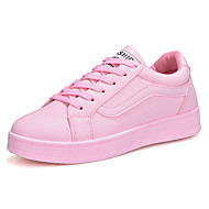 cheap Women's Shoes-Women's Sneakers Comfort Spring Fall Rubber Outdoor Lace-up Flat Heel White Black Blushing Pink Under 1in
