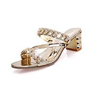 여성 샌들 클럽 신발 PU 봄 여름 캐쥬얼 드레스 파티/이브닝 클럽 신발 버클 웻지 굽 골드 슬리버 10cm- 12cm