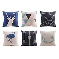 6つ 個 リネン 枕カバー ソファのクッション ベッド用枕 抱き枕 旅行用枕,アールデコ調 動物 幾何学模様 アーティスティック アールデコ/レトロ 座布団