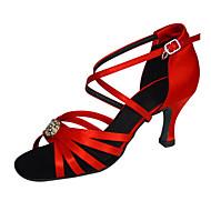 billige Sko til latindans-Dame Latin Silke Sandaler Opptreden Kryss & Tvers Stiletthæl Beige Rød 7,5 cm Kan spesialtilpasses