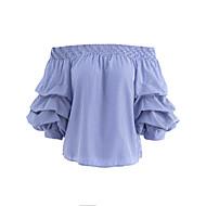Halvlange ærmer Bateau-hals Medium Damer Stribet Sommer Sødt Afslappet Sexet Daglig I-byen-tøj T-shirt,Bomuld