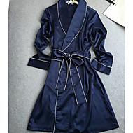 Mulheres Roupão Cetim & Renda Roupa de Noite Sólido,Média Rosa Azul Marinha