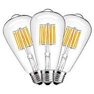 Χαμηλού Κόστους LED Λάμπες με Νήμα Πυράκτωσης-3pcs 10W 1000 lm E27 LED Λάμπες Πυράκτωσης ST64 10 leds COB Διακοσμητικό Θερμό Λευκό AC 220-240V