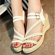 baratos Sapatos Femininos-Mulheres Sapatos Couro Ecológico Verão Conforto Sandálias Branco / Preto / Calcanhares