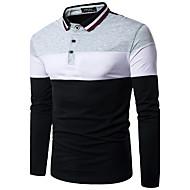 男性用 Polo 活発的 ストリートファッション シャツカラー スリム カラーブロック ブラック&ホワイト