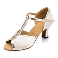 "cheap Latin Shoes-Women's Latin Silk Sandal Sneaker Professional Buckle Low Heel Nude 2"" - 2 3/4"" Customizable"