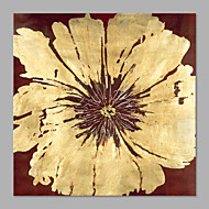 IARTS®Hand Painted Modern Abstract Golden Red Big Flower Floral Oil Painting On Canvas with Stretched Frame Wall Art For Home Decoration Ready To Hang