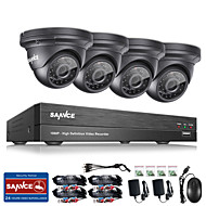 SANNCE® 8CH CCTV Security System Onvif 1080P AHD/TVI/CVI/CVBS/IP 5-in-1 DVR with 4*2.0MP Night Vision Weatherproof Cameras No HDD