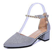 cheap Women's Heels-Women's Shoes PU Spring Summer Club Shoes Heels Chunky Heel Pointed Toe Flower for Casual Dress Gold Rose Pink Dark Grey Silver