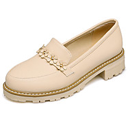 cheap Women's Slip-Ons & Loafers-Women's Shoes Leatherette Spring Fall Comfort Heels Chunky Heel Round Toe Flower for Casual Dress Party & Evening Beige Pink