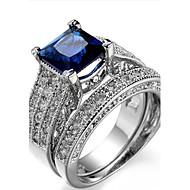 Dame Stenindfatning Ring Båndringe Kvadratisk Zirconium RhinstenEnkelt design Unikt design Geometrisk Venskab USA Britisk Klassisk