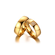 Par Parringe Kvadratisk Zirconium minimalistisk stil Elegant Kvadratisk Zirconium Titanium Stål 18K guld Rund Smykker Bryllup Jubilæum