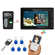 cheap Access Control Systems-7inch Wired / Wireless Wifi Fingerprint RFID Password Video Door Phone Doorbell Intercom System upport Remote APP unlocking Recording Snapshot