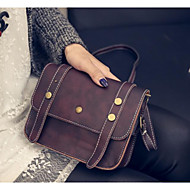 Women Bags All Seasons PU Shoulder Bag for Casual Outdoor Red Brown Dark Brown